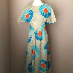 VINTAGE Handmade Maxi Dress w/ Flowers Polka Dots